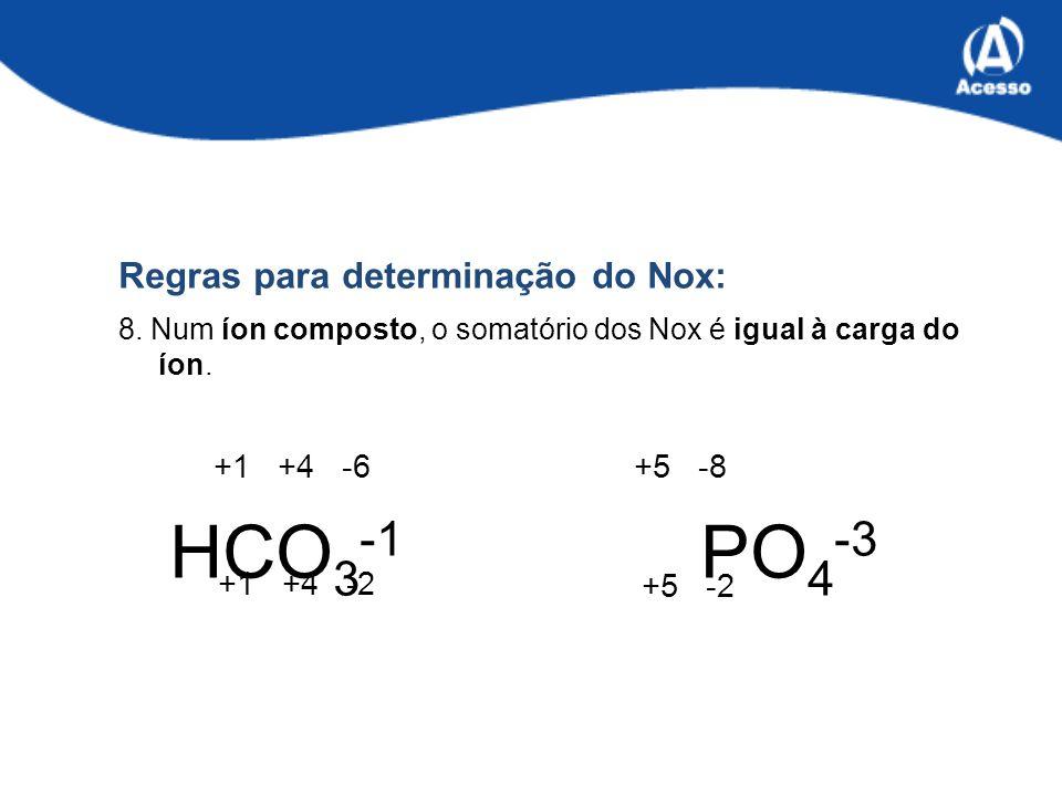 HCO3-1 PO4-3 Regras para determinação do Nox: +1 +4 -6 +5 -8 +1 +4 -2