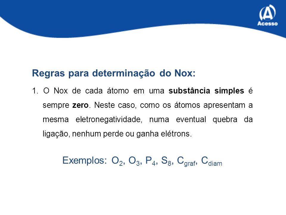 Exemplos: O2, O3, P4, S8, Cgraf, Cdiam