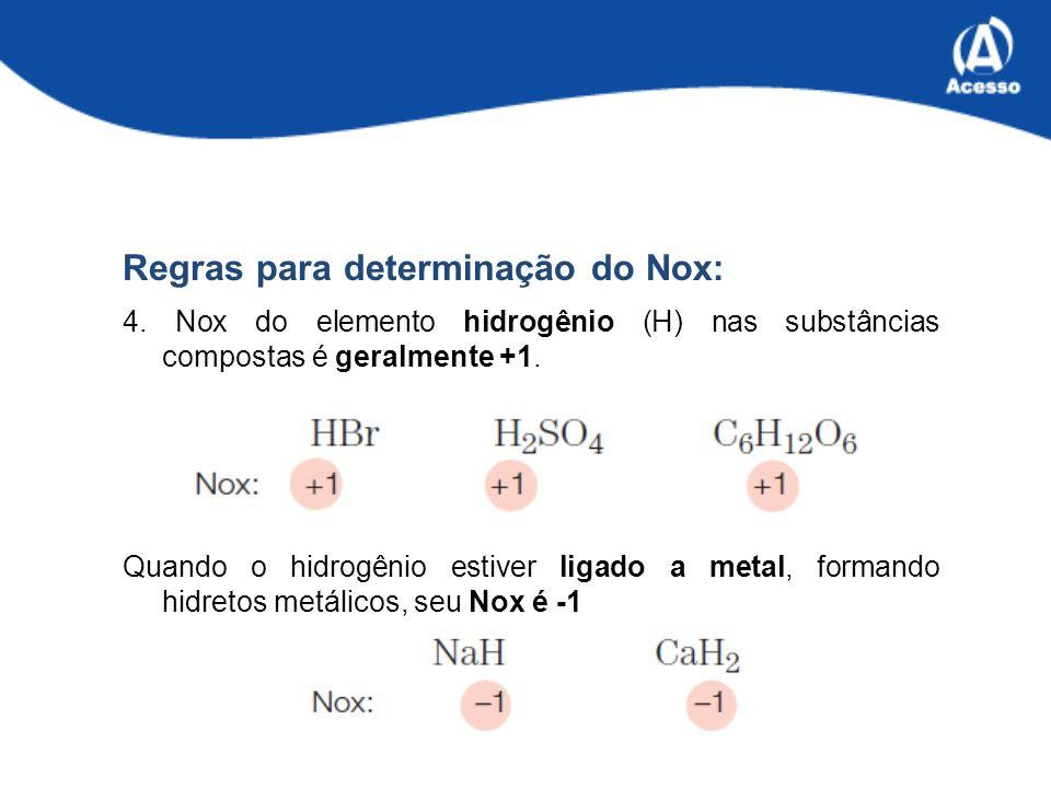 Regras para determinação do Nox: