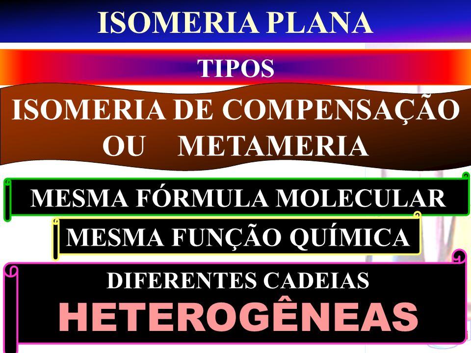 ISOMERIA PLANA ISOMERIA DE COMPENSAÇÃO OU METAMERIA TIPOS