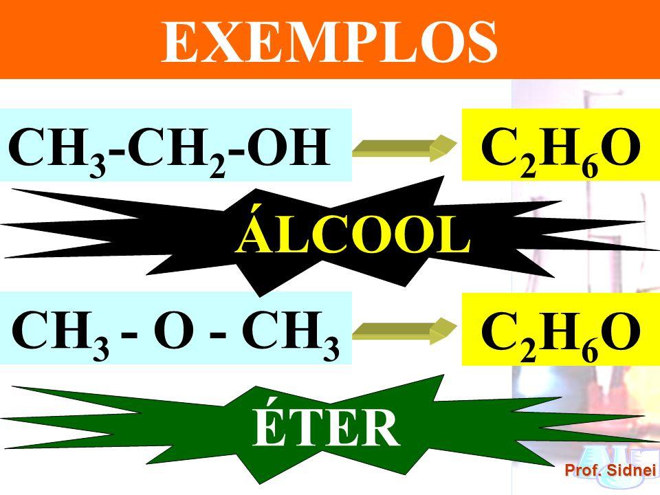 EXEMPLOS CH3-CH2-OH C2H6O ÁLCOOL CH3 - O - CH3 C2H6O ÉTER