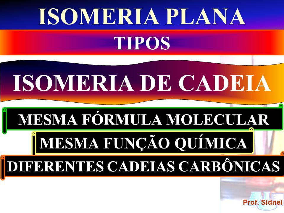 MESMA FÓRMULA MOLECULAR DIFERENTES CADEIAS CARBÔNICAS