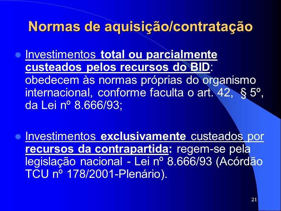 Normas de aquisição/contratação