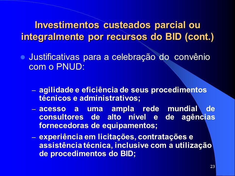 Investimentos custeados parcial ou integralmente por recursos do BID (cont.)