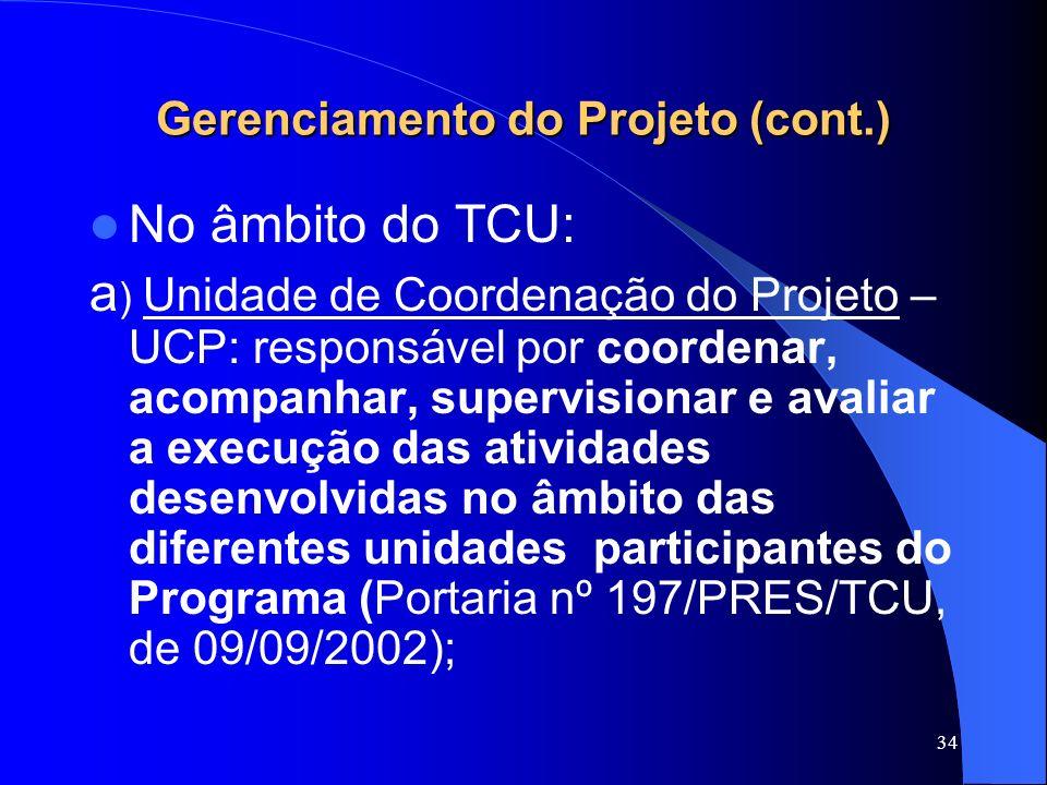 Gerenciamento do Projeto (cont.)