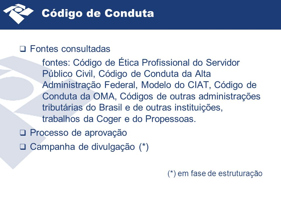 Código de Conduta Fontes consultadas