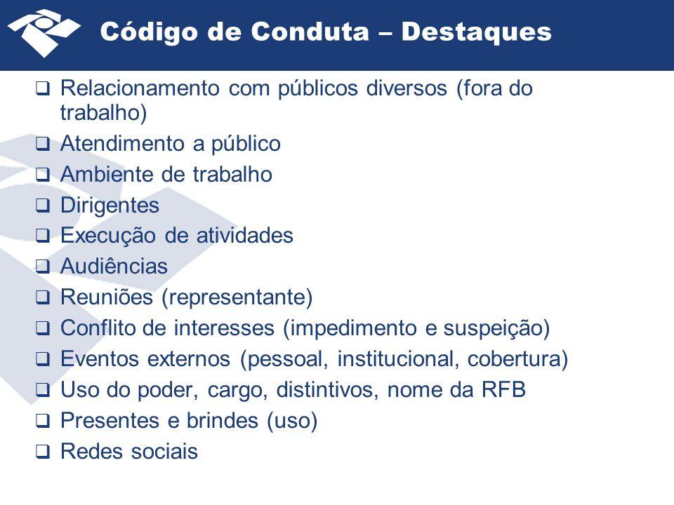 Código de Conduta – Destaques