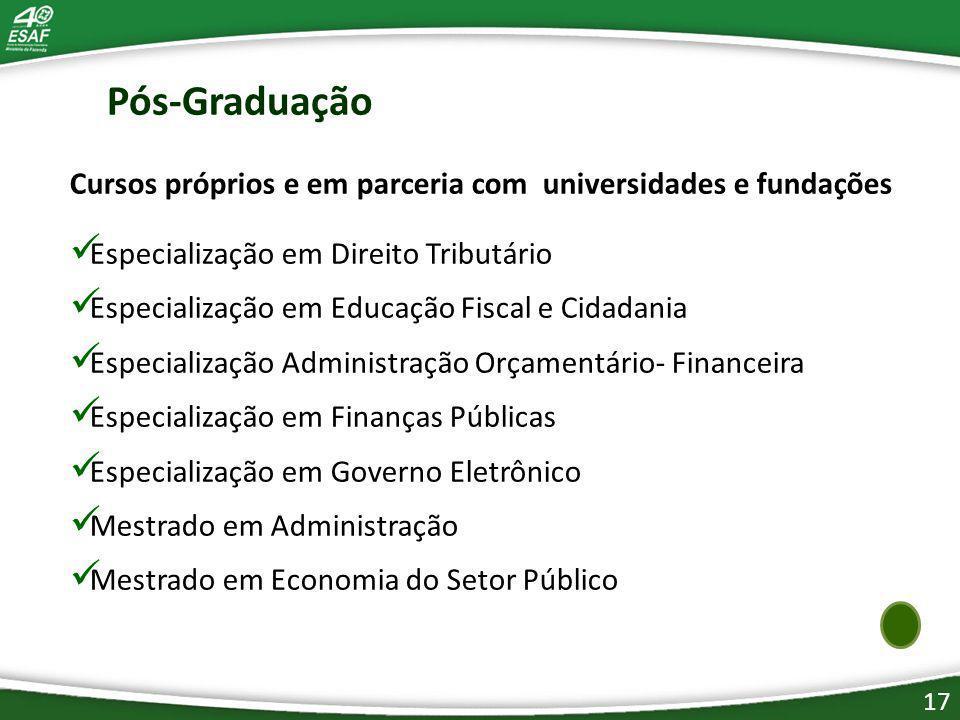 Pós-Graduação Cursos próprios e em parceria com universidades e fundações. Especialização em Direito Tributário.