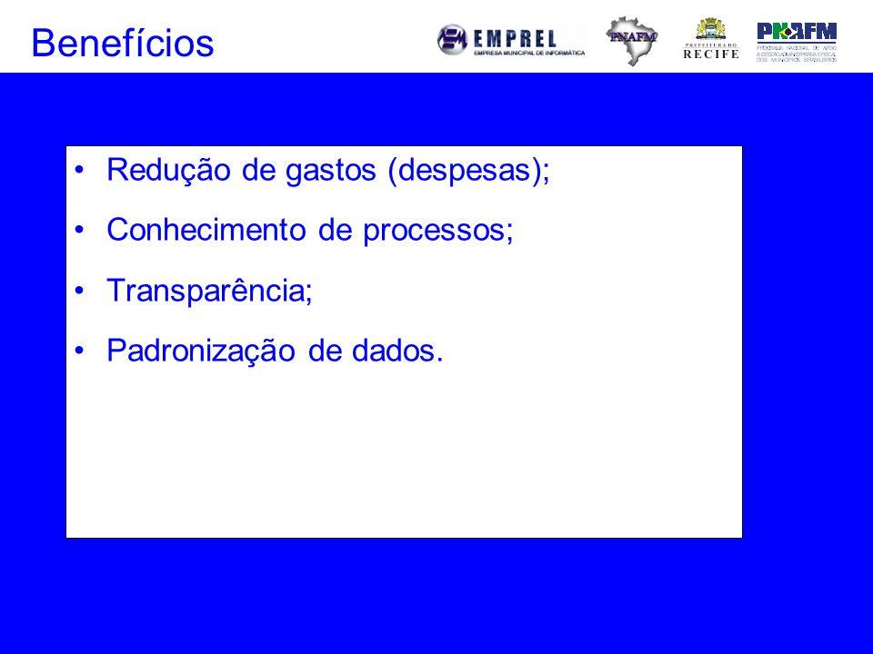 Benefícios Redução de gastos (despesas); Conhecimento de processos;