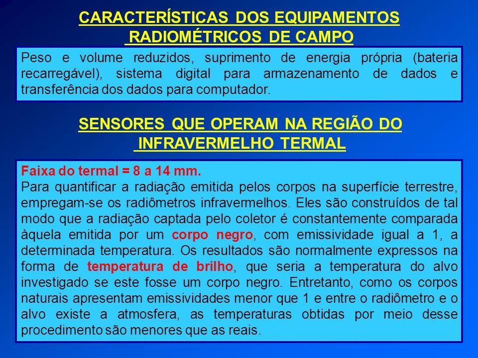 CARACTERÍSTICAS DOS EQUIPAMENTOS RADIOMÉTRICOS DE CAMPO
