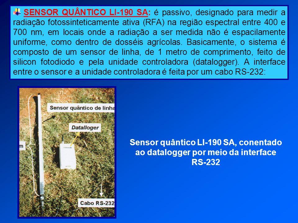 SENSOR QUÂNTICO LI-190 SA: é passivo, designado para medir a radiação fotossinteticamente ativa (RFA) na região espectral entre 400 e 700 nm, em locais onde a radiação a ser medida não é espacilamente uniforme, como dentro de dosséis agrícolas. Basicamente, o sistema é composto de um sensor de linha, de 1 metro de comprimento, feito de silicon fotodiodo e pela unidade controladora (datalogger). A interface entre o sensor e a unidade controladora é feita por um cabo RS-232: