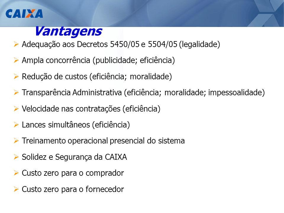 Vantagens Adequação aos Decretos 5450/05 e 5504/05 (legalidade)
