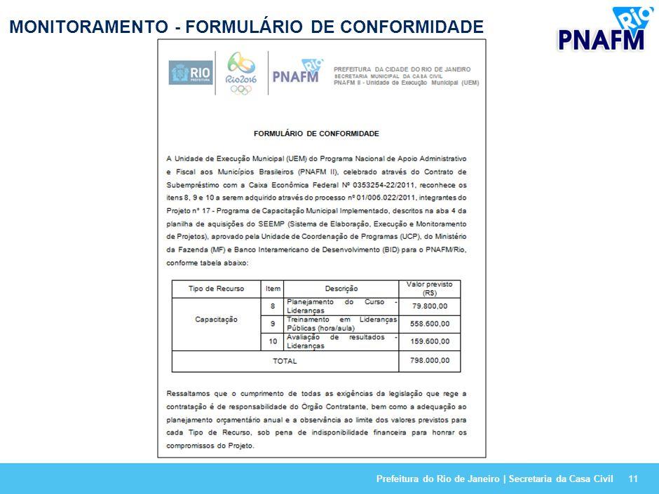 MONITORAMENTO - FORMULÁRIO DE CONFORMIDADE