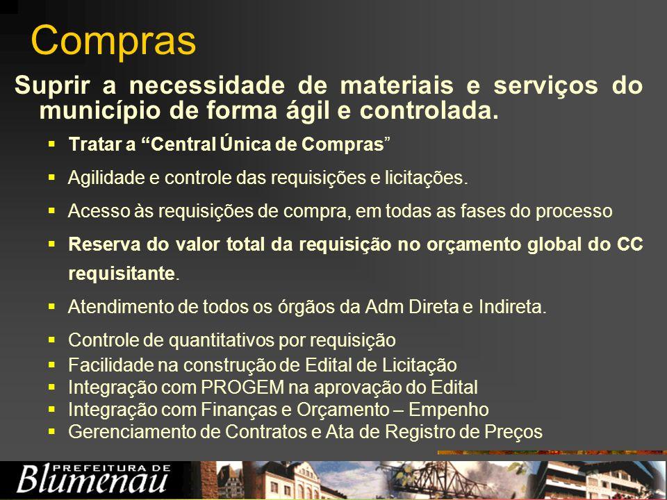 Compras Suprir a necessidade de materiais e serviços do município de forma ágil e controlada. Tratar a Central Única de Compras