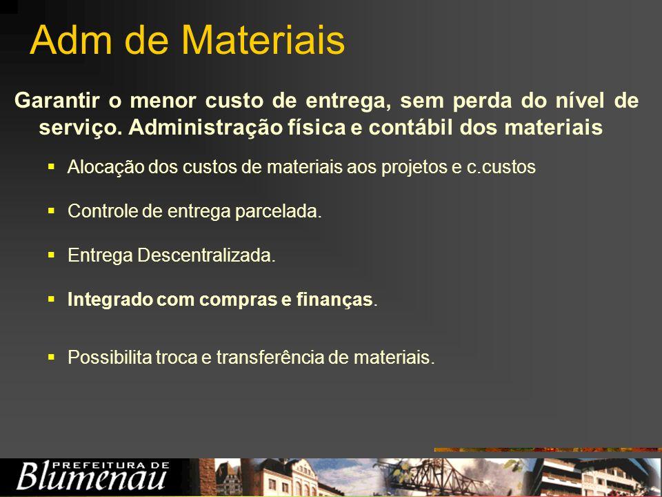 Adm de Materiais Garantir o menor custo de entrega, sem perda do nível de serviço. Administração física e contábil dos materiais.