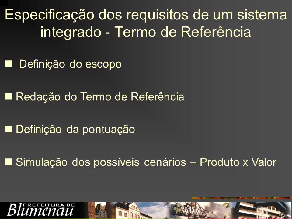 Especificação dos requisitos de um sistema integrado - Termo de Referência