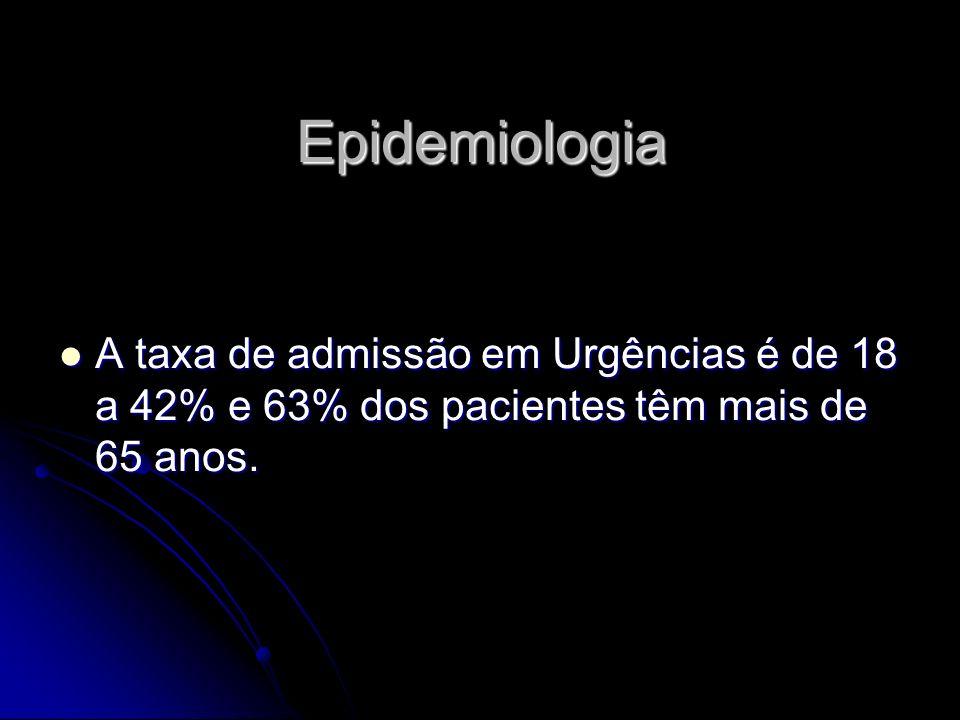 Epidemiologia A taxa de admissão em Urgências é de 18 a 42% e 63% dos pacientes têm mais de 65 anos.