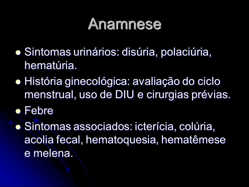 Anamnese Sintomas urinários: disúria, polaciúria, hematúria.