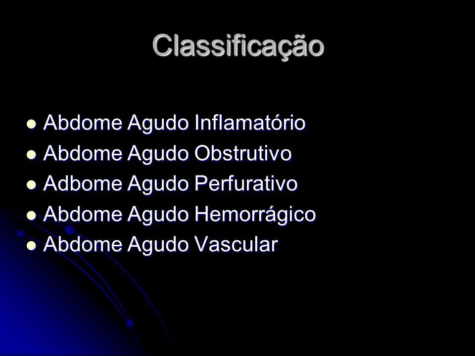 Classificação Abdome Agudo Inflamatório Abdome Agudo Obstrutivo
