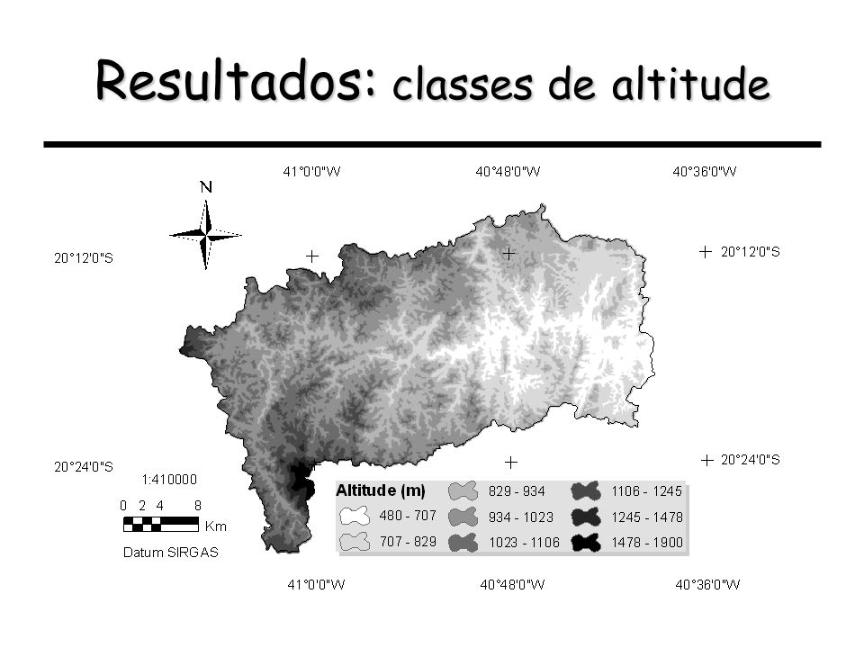 Resultados: classes de altitude