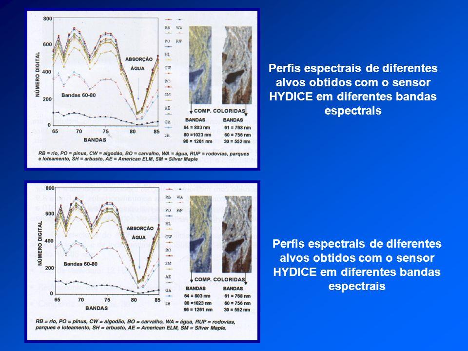 Perfis espectrais de diferentes alvos obtidos com o sensor HYDICE em diferentes bandas espectrais