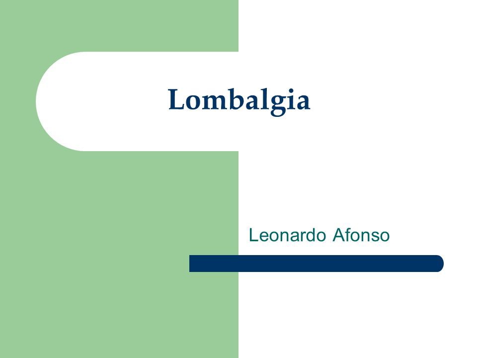 Lombalgia Leonardo Afonso