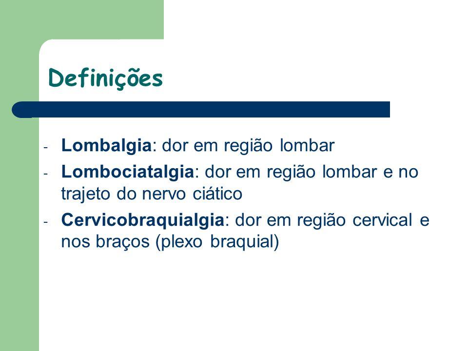 Definições Lombalgia: dor em região lombar