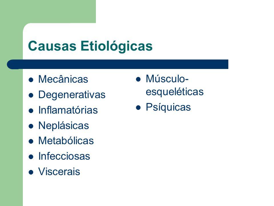 Causas Etiológicas Mecânicas Músculo-esqueléticas Degenerativas