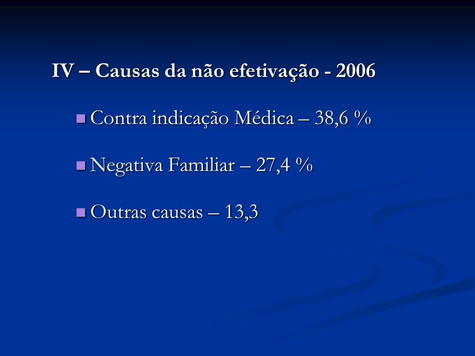 IV – Causas da não efetivação - 2006