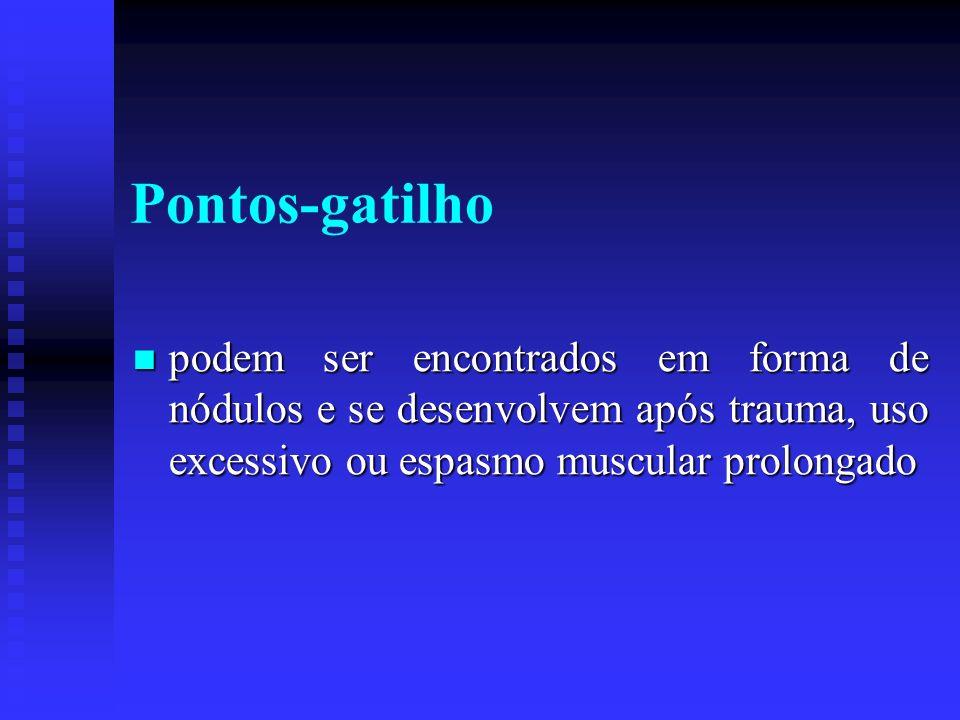 Pontos-gatilho podem ser encontrados em forma de nódulos e se desenvolvem após trauma, uso excessivo ou espasmo muscular prolongado.