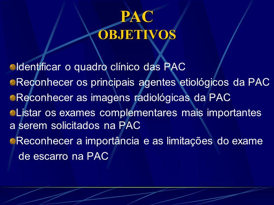 PAC OBJETIVOS Identificar o quadro clínico das PAC