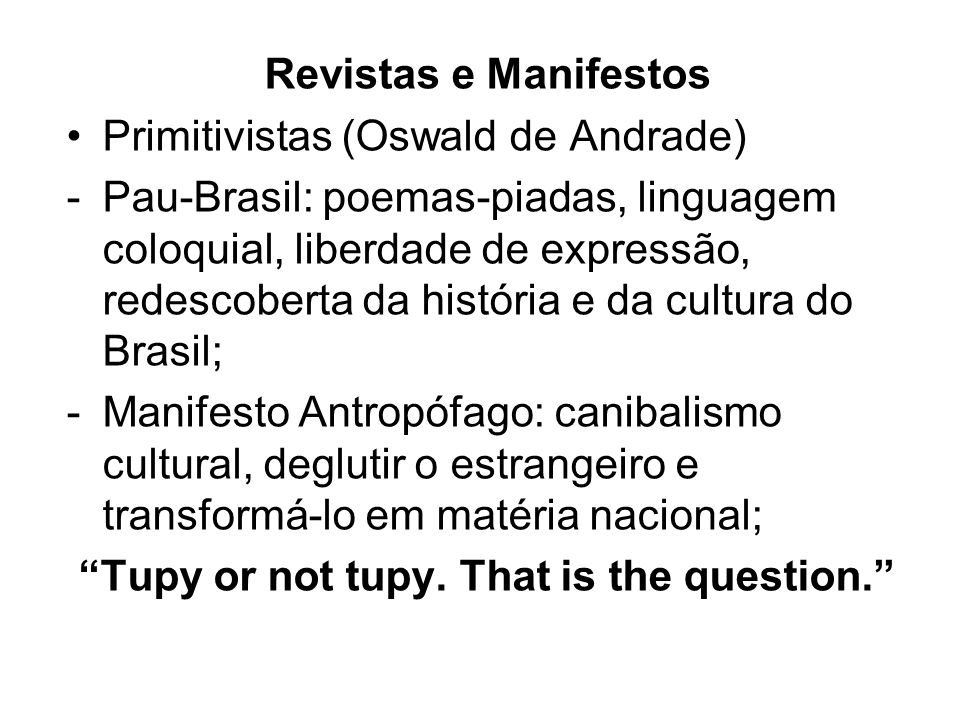 Revistas e Manifestos Primitivistas (Oswald de Andrade)