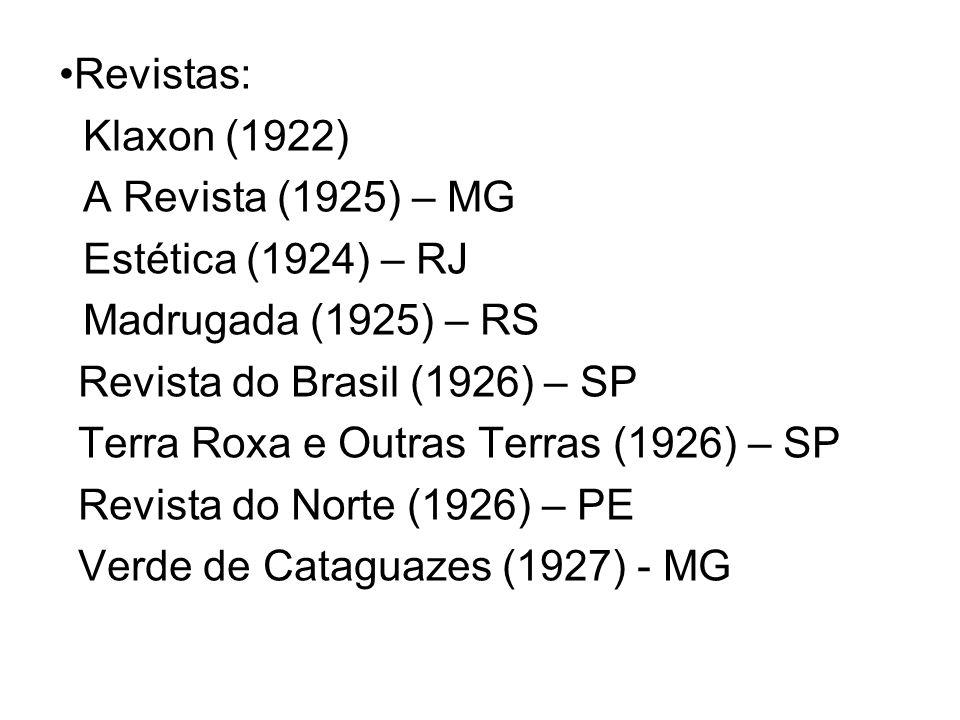 Revistas:Klaxon (1922) A Revista (1925) – MG. Estética (1924) – RJ. Madrugada (1925) – RS. Revista do Brasil (1926) – SP.
