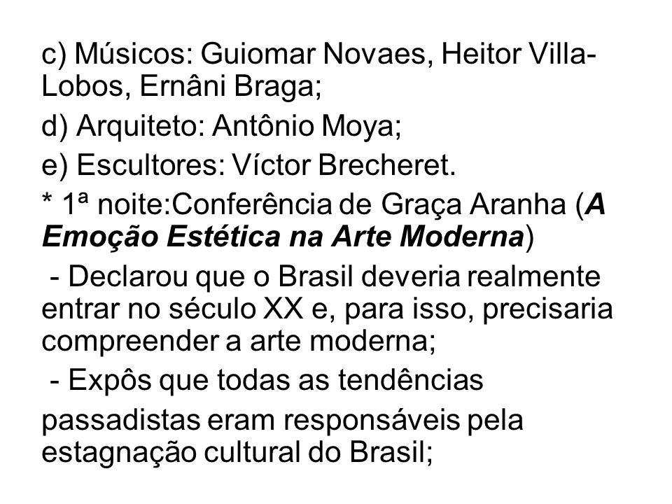 c) Músicos: Guiomar Novaes, Heitor Villa-Lobos, Ernâni Braga;