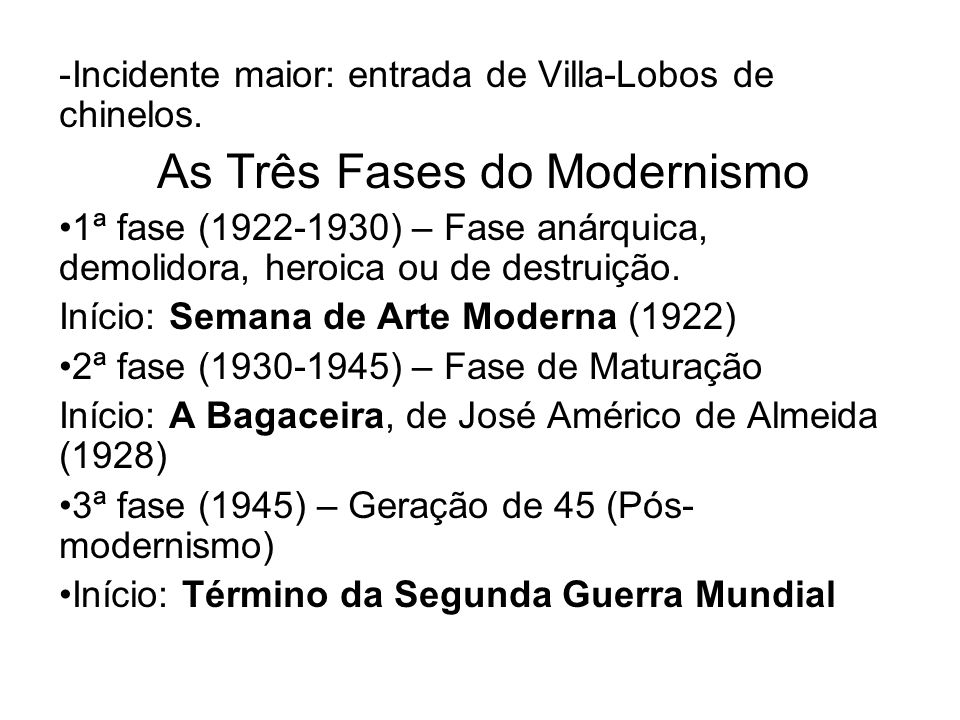 As Três Fases do Modernismo