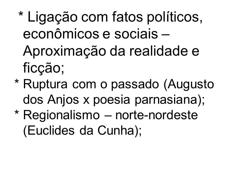 * Ligação com fatos políticos, econômicos e sociais – Aproximação da realidade e ficção;