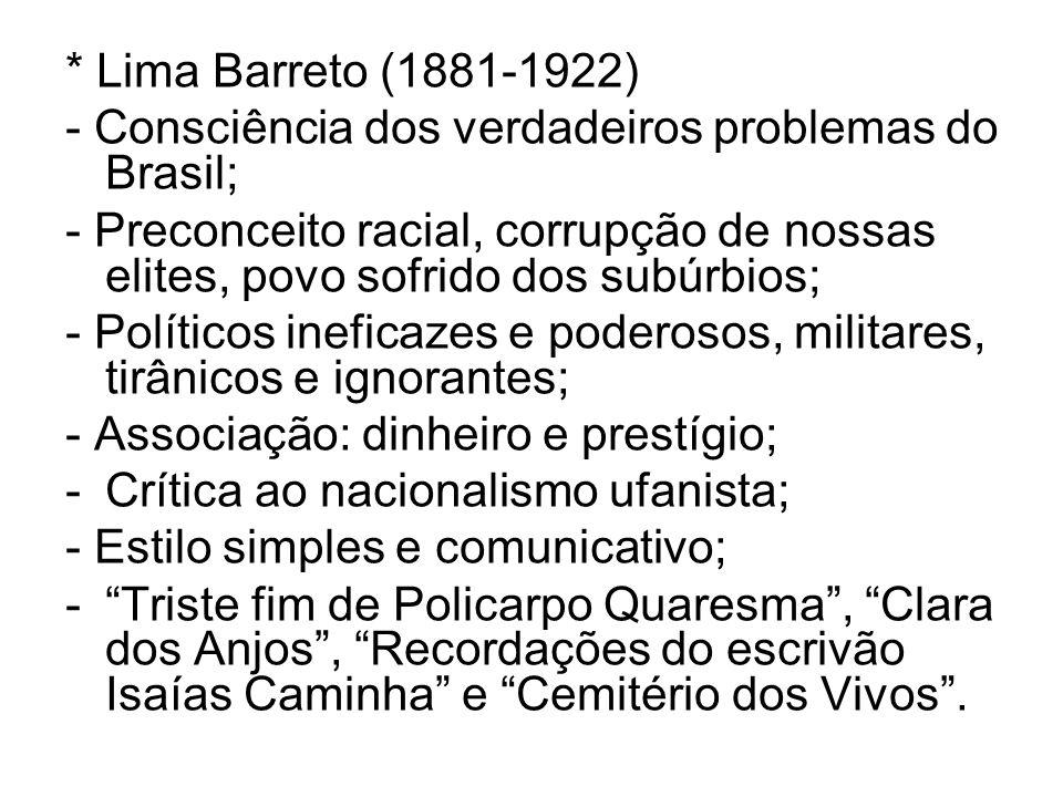 * Lima Barreto (1881-1922)- Consciência dos verdadeiros problemas do Brasil;