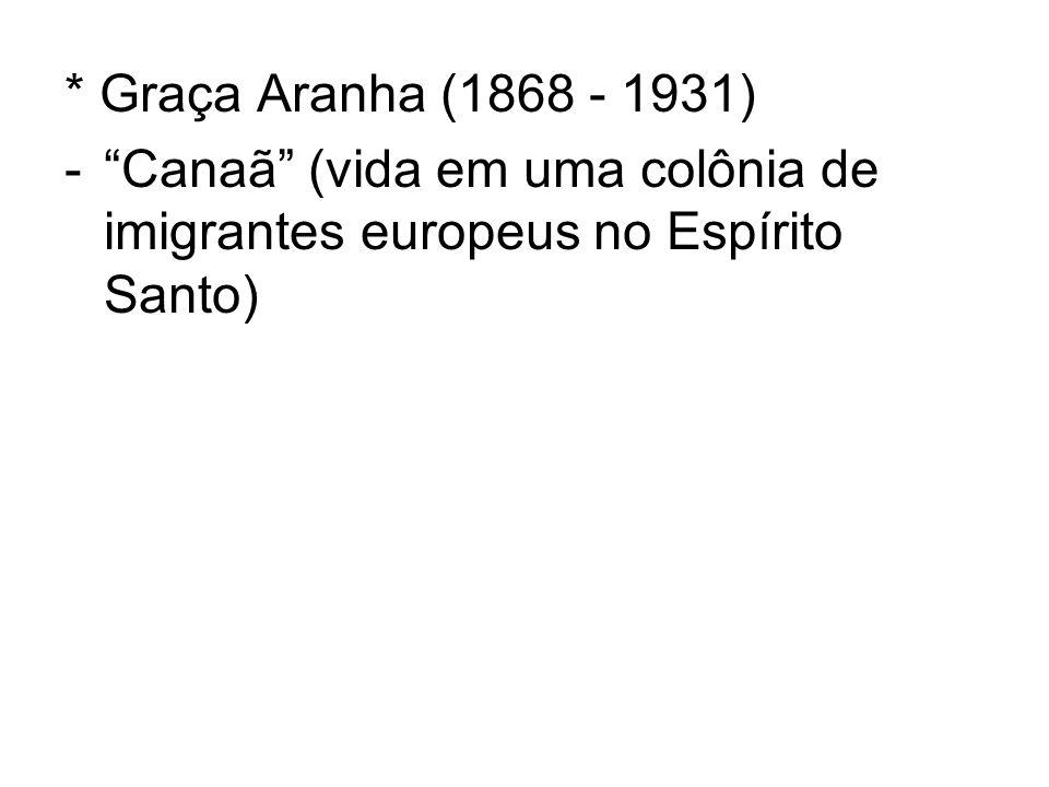 * Graça Aranha (1868 - 1931) Canaã (vida em uma colônia de imigrantes europeus no Espírito Santo)