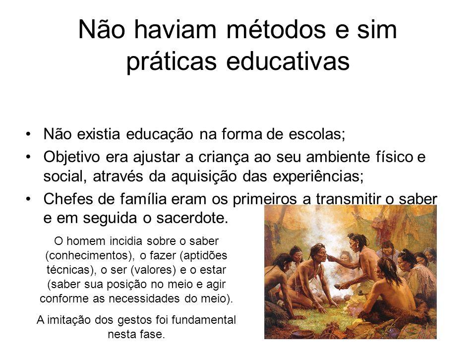 Não haviam métodos e sim práticas educativas