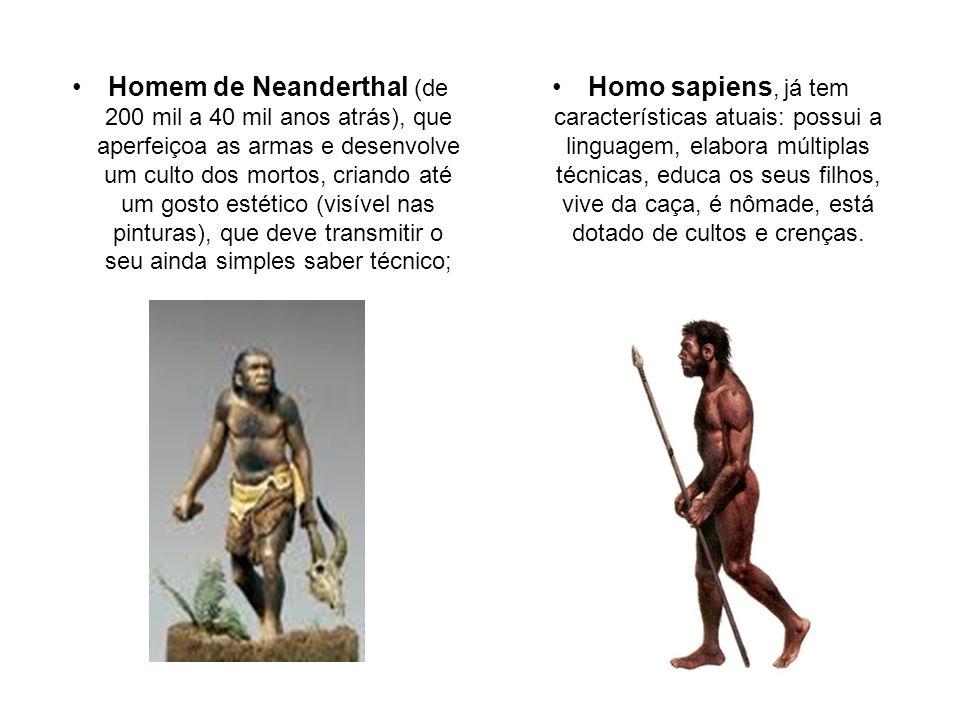 Homem de Neanderthal (de 200 mil a 40 mil anos atrás), que aperfeiçoa as armas e desenvolve um culto dos mortos, criando até um gosto estético (visível nas pinturas), que deve transmitir o seu ainda simples saber técnico;