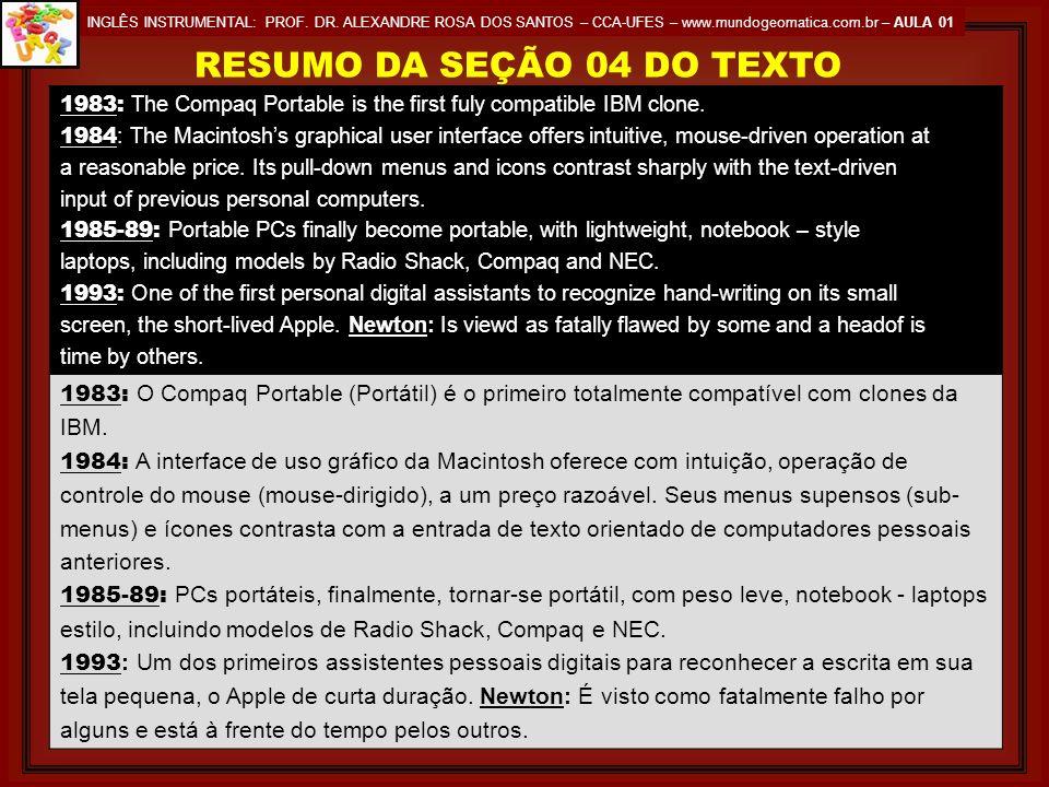 RESUMO DA SEÇÃO 04 DO TEXTO
