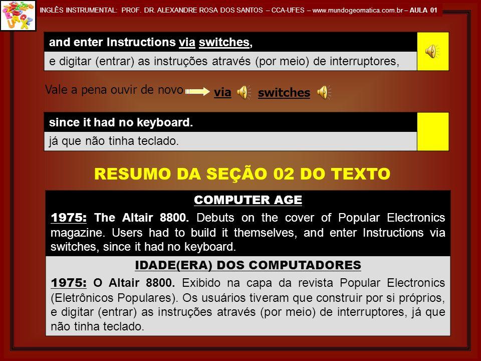 IDADE(ERA) DOS COMPUTADORES