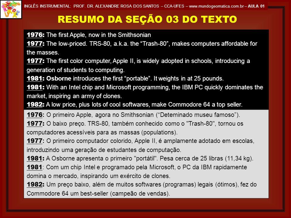RESUMO DA SEÇÃO 03 DO TEXTO