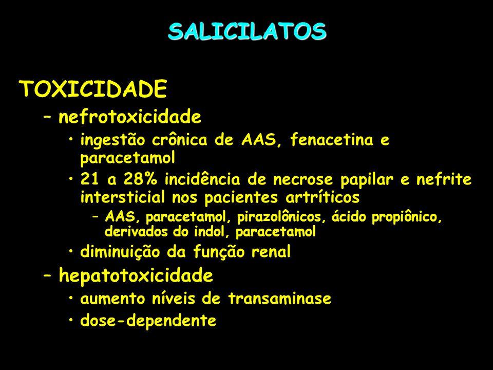 SALICILATOS TOXICIDADE nefrotoxicidade hepatotoxicidade