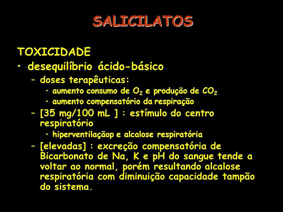 SALICILATOS TOXICIDADE desequilíbrio ácido-básico doses terapêuticas: