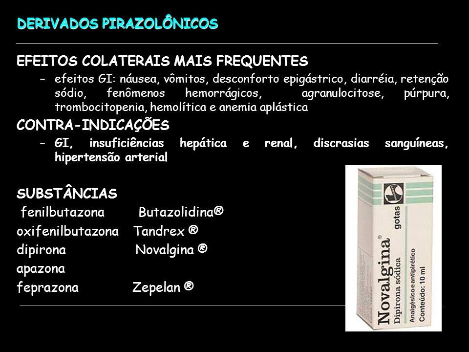 DERIVADOS PIRAZOLÔNICOS EFEITOS COLATERAIS MAIS FREQUENTES