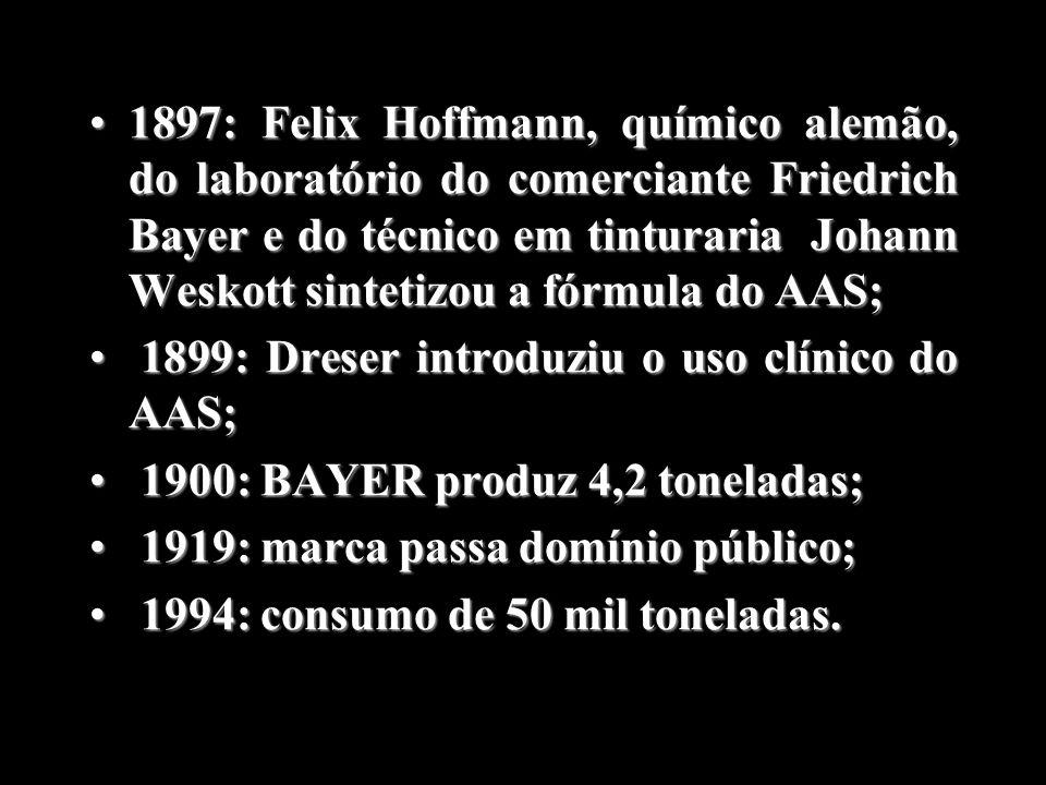 1897: Felix Hoffmann, químico alemão, do laboratório do comerciante Friedrich Bayer e do técnico em tinturaria Johann Weskott sintetizou a fórmula do AAS;