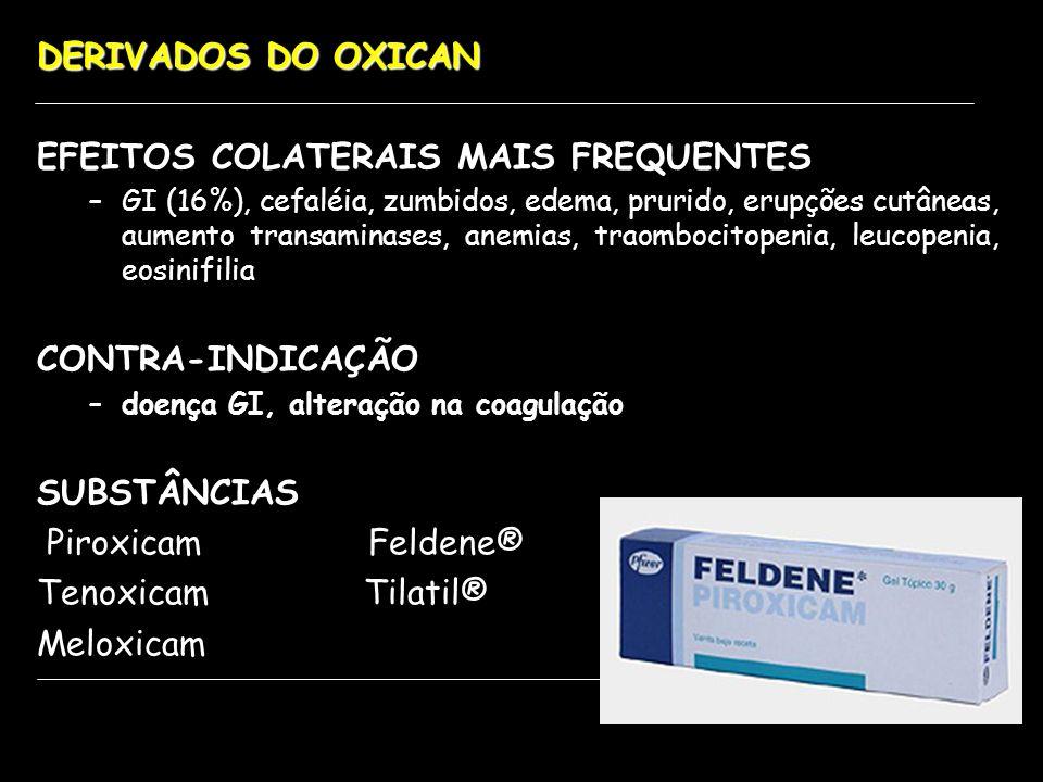 EFEITOS COLATERAIS MAIS FREQUENTES