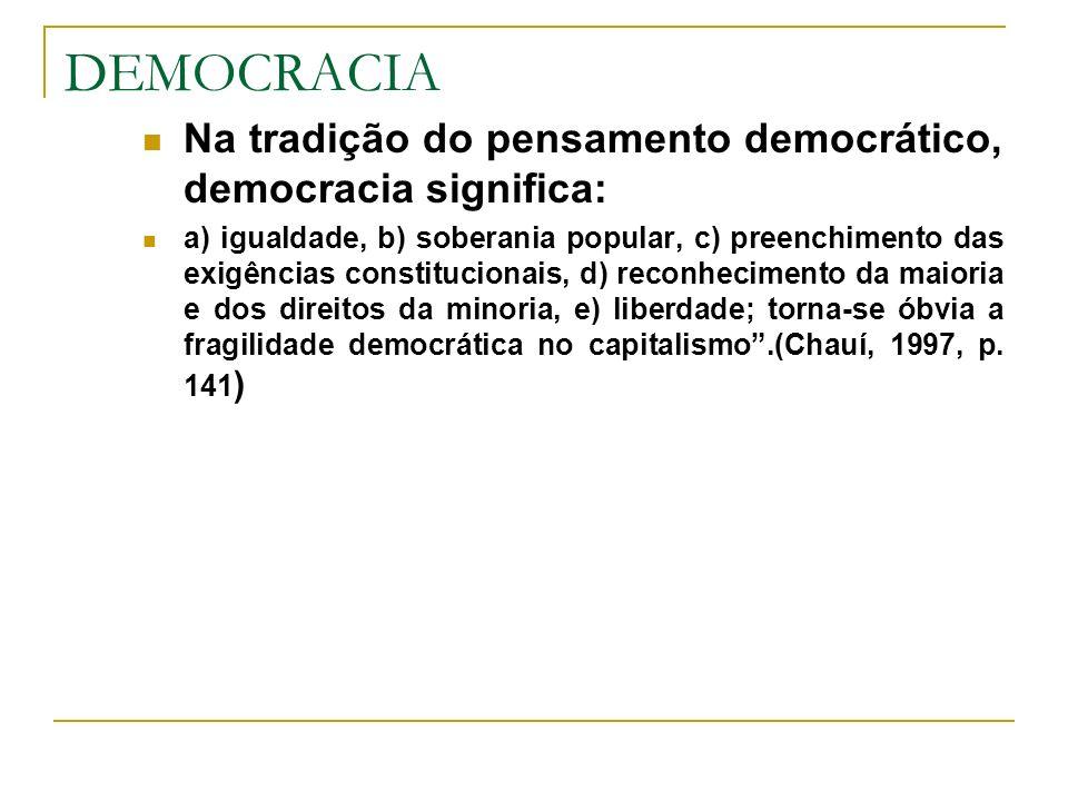 DEMOCRACIA Na tradição do pensamento democrático, democracia significa: