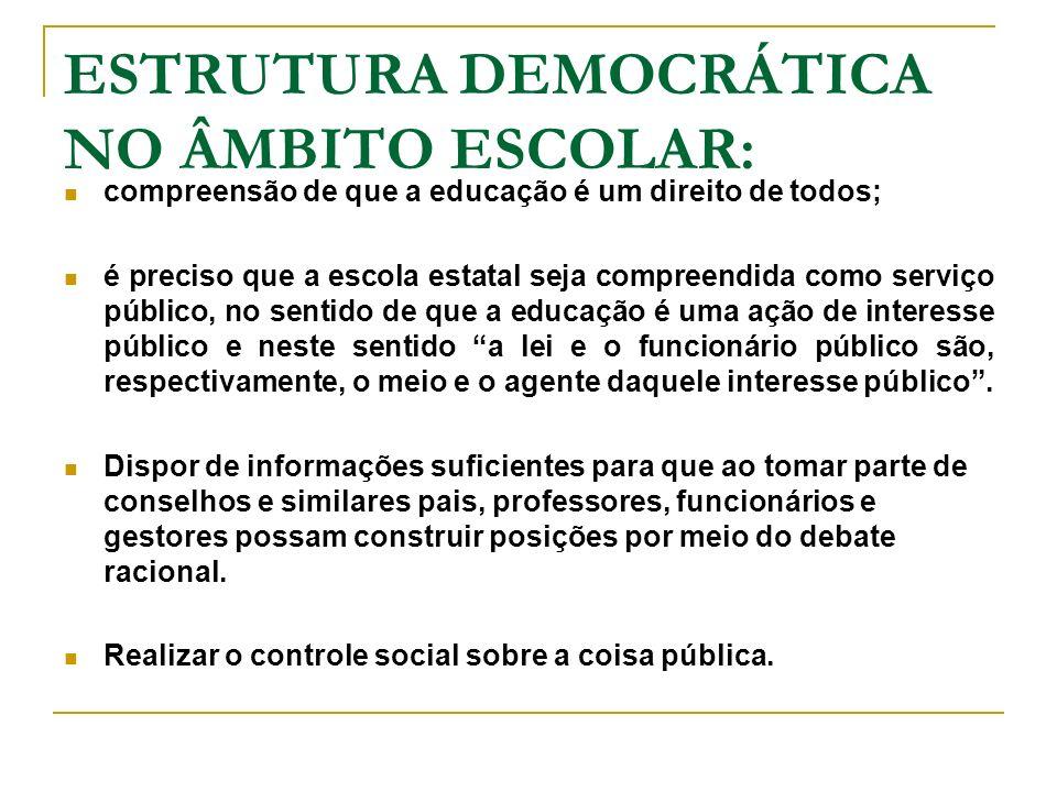 ESTRUTURA DEMOCRÁTICA NO ÂMBITO ESCOLAR: